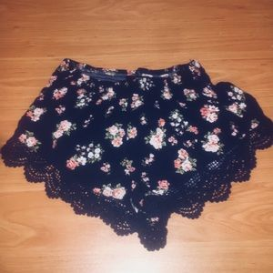 F21 Floral Laced Mini Shorts